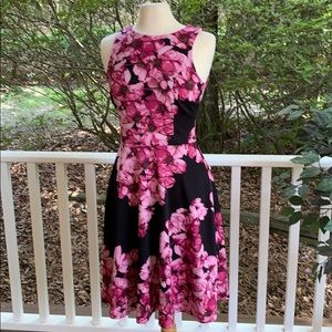 Black and pink floral tank dress